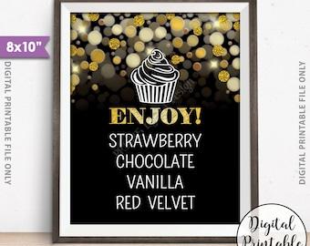 "Cupcake Menu Cupcake Sign, Cupcake Flavors, Cupcake Selection Dessert Sign, Cupcake Choices, 8x10"" Black & Gold Glitter Printable Sign"