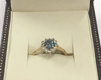 9ct Yellow Gold Topaz and CZ Heart Shaped Ring Size N