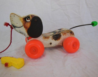 Vintage Fisher-Price 1960's Little Snoopy Wooden Pull Dog