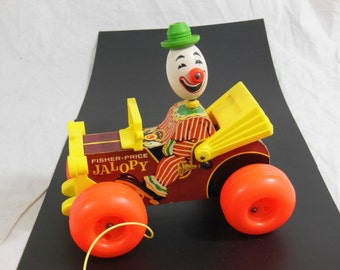 Fisher Price Jolly Jalopy Bobble-head Clown, Wooden Pull Toy #724 1960's, Vintage