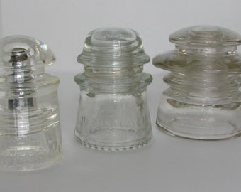 3 Glass Insulators Very Rare Hemingray Large All in Great Condition and Very Clean