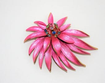 Pink Floral Brooch Large Metal Flower Pin