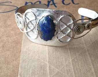 FREE SHIPPING!!! Sterling Silver Celtic Accents 18x13mm Natural Deep Blue And Gold Flecks Lapis Lazuli Cabochon Cuff Bracelet By Nickole Sch