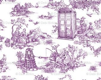 Tardis & Dalek~Toile De Jouy Blue Police Boxes~ Doctor Who~Pencil Zipper Bag~