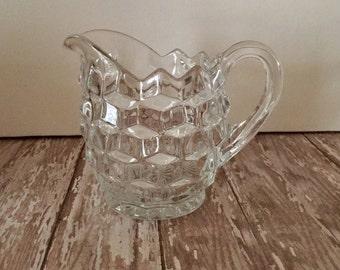 Vintage Fostoria Creamer, Fostoria American Clear Glass, Fostoria Early American Cubist Pattern, Fostoria Clear Glass Pitcher