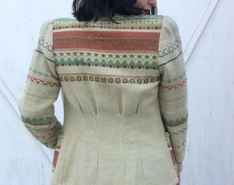 1940s embroidered ethic wool jacket.