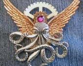 BACKORDER Steampunk Brooch 16 Cthulu Angel Bird-wing Flying Octopus Creature