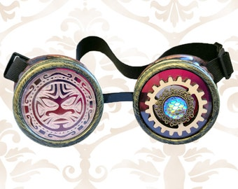 Octopunx Antiqued Copper Color Steampunk Goggles with Red Art Lenses and Green Bronze Rims