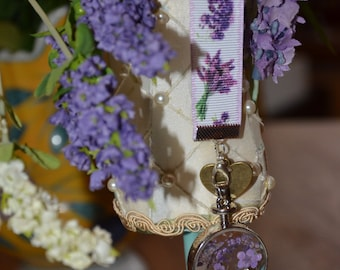 Lavender ribbon bookmark, detachable glass locket with chain, watercolour print giftcard.