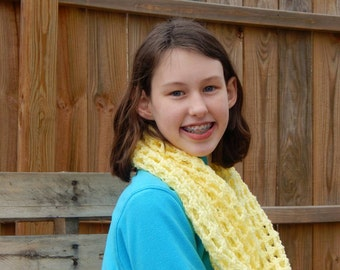 Soft Yellow Scarf; Crocheted Yellow Infinity Scarf; Handmade by Anna