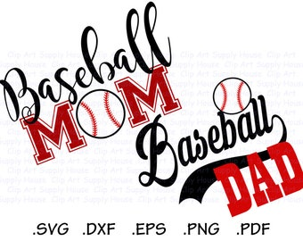BaseBall Mom, Baseball Dad, Base Ball Design Files, Use With Silhouette Software, DXF Files, SVG Font, EPS File, Silhouette - CA429