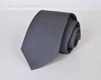 Charcoal Linen Skinny Tie