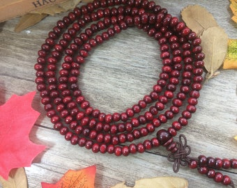 10X(216 6MM) Round Red Wooden Beads Red Rosewood Meditation Buddha Japa Mala Necklace Yoga Bracelet