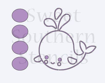 Whale PYO Cookie Stencil