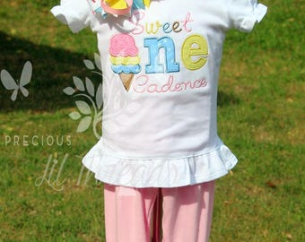 Baby Girls Sweet ONE Birthday Shirt- First Birthday Ice Cream outfit- Ice cream Short Set-Ruffle leggings- tutu skirt- You choose the colors
