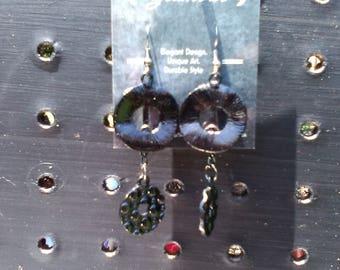 Black Metallic Double Ring Dangle Earrings