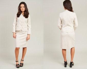 Sale! 80s Surrey Classics Beige Knit Skirt Suit • S