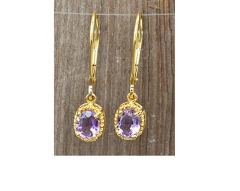 14K Yellow Gold and Amethyst Earrings lever backs 2.5 grams, 1.50cttw