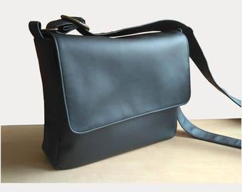 Black Messenger bag Laptop crossbody large Vegan leather handbag Personalized bag