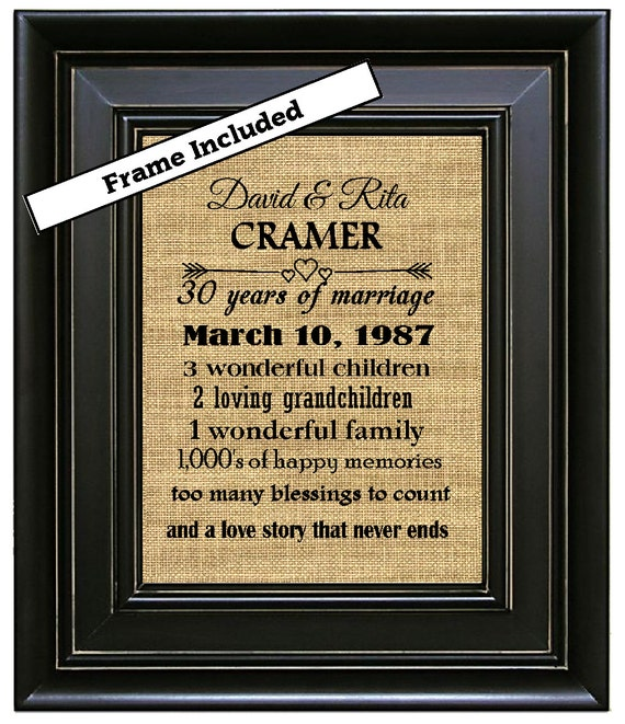 FRAMED 30th Wedding Anniversary 30th Anniversary Gifts 30th