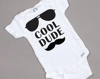 Cool dude - Baby Boy Onesie with aviators and mustache