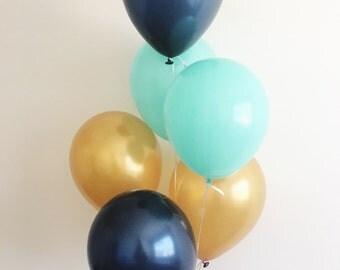 Navy Mint Gold Latex Balloons Navy Balloons Gold Balloons Navy and Gold First Birthday Royal Prince Mint Balloons Navy Gold Mint Party