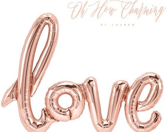 Love Balloon Rose Gold Balloons Rose Gold Love Balloon Bridal Shower Wedding Decor Rose Gold Wedding Rose Gold Bridal Shower Script Balloon