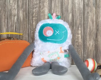 Handmade plush toy, Hug Monster,  aqua and ligth grey with owl pocket, happy friendly monster for girl,unique  birthday gift, ready to go
