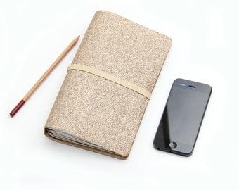 Rose Gold Glitter Travelers Notebook Cover, Journal Cover, Bullet Journal, Fauxdori, Rose Gold Planner, 2017 Planner Wide Travelers Notebook