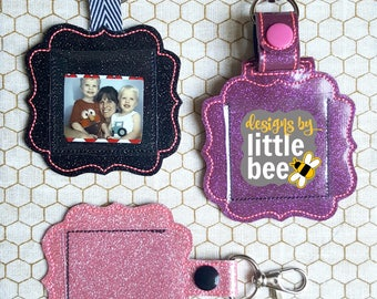 ITH in the hoop picture frame snap tab - key fob, keychain, photo project for embroidery - machine embroidery design - 04 28 2017