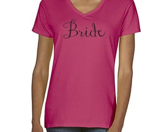 Bride and Bridal Party Fitted V-Neck Shirts - Customizable
