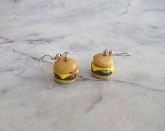 Hamburger stud earrings. Cheeseburger stud earrings. Burger Stud earrings.
