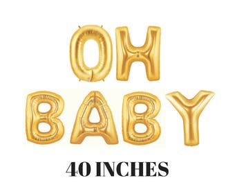 "OH BABY Balloons | 40"" Gold Foil Letters 