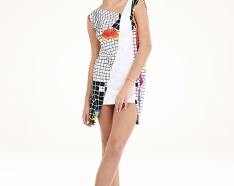 NEW COLLECTION printed black white womens dress organic cotton