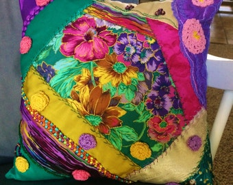 Decorative Pillow, Crazy Quilt style, One of a Kind, Green/Purple/Gold, 12x12, Pillow #8
