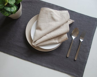 Table Runner, Linen Table Runner, for Home Decor, Party, Wedding, Select A Size, dark shadow.