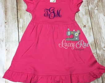 Monogrammed Dress, Toddler and big girl Monogrammed Dress, Summer Dress, Spring Dress