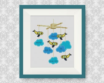 BUY 2, GET 1 FREE! Airplane Baby Announcement Cross Stitch Pattern, Airplane, Customisable Cross Stitch Pattern, Newborn cross stitch, #P273