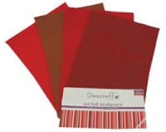 Dovecraft A4 Felt 8 Sheet Multipack Purples and Reds