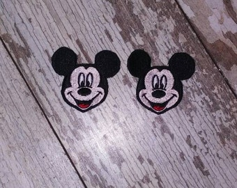 READY TO SHIP!!! Smiling Mickey Mouse Inspired Embroidered Iron On Patch - Set of 2! Ready to ship!