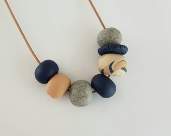 Polymer clay necklace,Tan, granite and navy clay bead necklace