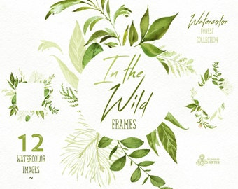 In the Wild. Watercolor floral Frames, arrangements, leaves, wedding invitation, suite, greeting card, clipart, leaf, stickers, planner, itw
