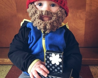 Bobble bearded beanie- crochet beard beanie- beard beanie- beard hat- baby beard- bearded hats- beard beanie