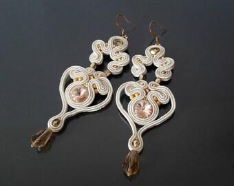 wedding earrings, bridal ivory crystal earrings ,  statement bridal earrings, drop earrings, long bridal earrings, chandelier earrings