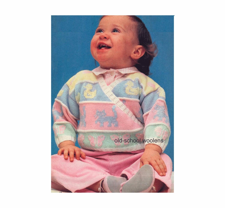Knitting Pattern Baby Wrap Sweater : Vintage Baby & Toddler Knitting Pattern Wrap Sweater Surplice