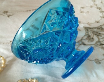 Vintage Blue Compote, Heavy Glass Pedestal Candy/Bon Bon Dish with Deep Cut Sunburst Facet.