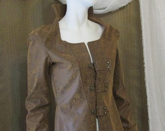Long Steampunk Style Costume Coat, Corset back, Overcoat, High Collar, Trench Coat, OOAK