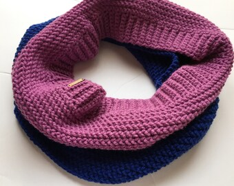 Crochet cowl scarf - purple and blue cowl - stripe scarf - winter scarf - thick scarf - christmas gift for her - gift for teens