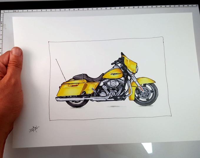 Harley Davidson Street Glide - Fine Art Print | Motorcycle Art | Motorcycle Illustration