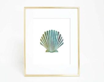 Shell Art, Sea Shell Wall Art, Seashell Print, Beach Wall Art, Coastal Nursery Art, Beach Artwork, Shell Artwork, Beach Decor, Nursery Decor
